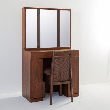 ラルゴ女優ミラー:オールナット】半三面ドレッサー椅子付き