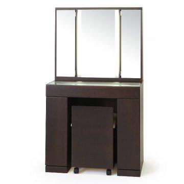ラルゴ女優ミラー:ウェンジ色】半三面ドレッサー椅子付き