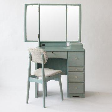 フェアリーテール(ベビーブルー)半三面鏡ドレッサー椅子付き ハンドル3種類