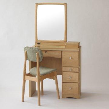 フェアリーテール(ナチュラル)一面鏡ドレッサー椅子付き ハンドル3種類