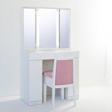 ラルゴ女優ドレッサー:パールホワイト】半三面ミラー椅子付き