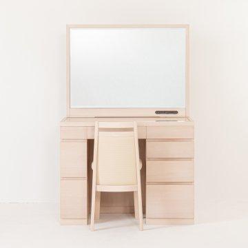ファータ(ウェンジ・ウォールナット)一面鏡ワイドミラーホテルドレッサー椅子・スタンドライト付き
