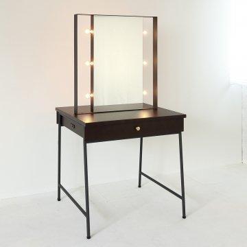 ウィンライトアップミラー(4色)収納半三面鏡LEDドレッサー椅子付き