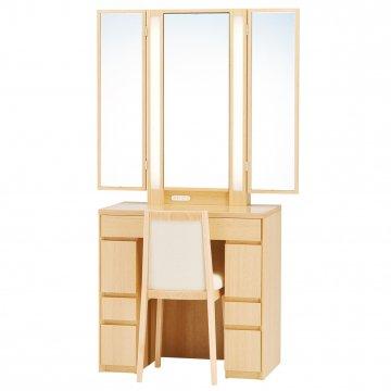 ロッシェル両袖収納女優ミラー(ナチュラル)半三面鏡LEDドレッサー椅子付き