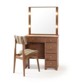 タピオ女優ミラー(ウォールナット)北欧一面鏡LEDドレッサー椅子付き