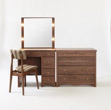 【受注生産】一面鏡ドレッサー【タピオとチェスト】セット椅子付き