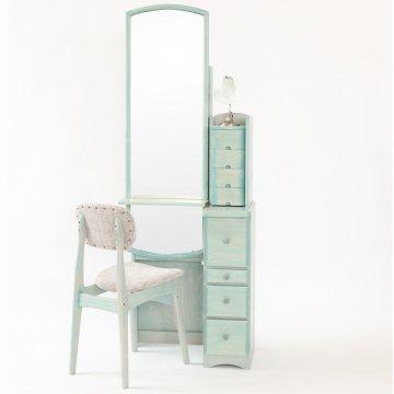 姿見ドレッサー【フェアリーテール】4色椅子付き 選べるハンドル3種類