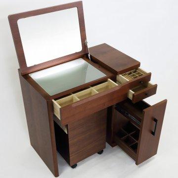 デスクドレッサーじょゆどれSugaoライトアップミラー(ウォールナット)一面鏡LEDドレッサー椅子付き