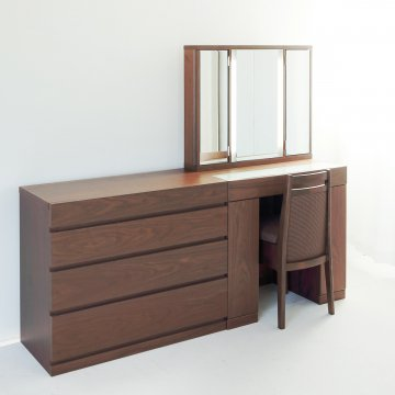ラルゴ女優ミラー + チェスト90(4色)半三面鏡LEDドレッサー椅子付き【セット割】