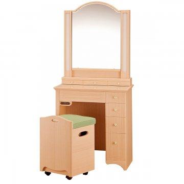 一面鏡ドレッサー【プリティカ】椅子付き 女優ミラー
