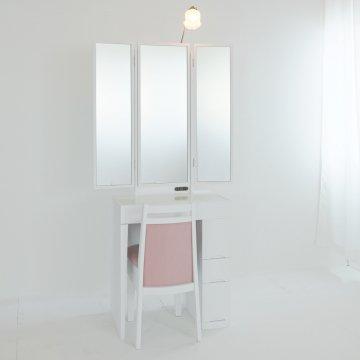 プリティカとチェスト】一面鏡ドレッサー椅子付き 女優ミラー