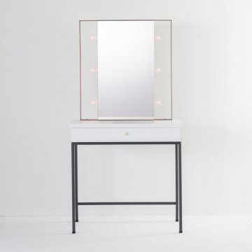 じょゆどれメイクスタジオ女優ミラー(ホワイト)美容サロンセット台 一面鏡ハリウッドミラー ライトドレッサー
