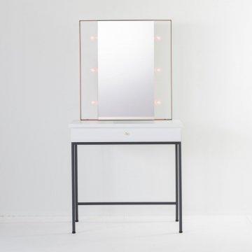 スタジオ女優ミラー(ホワイト×ブラック)美容サロンセット面 一面鏡ハリウッドミラー ライト付ドレッサー