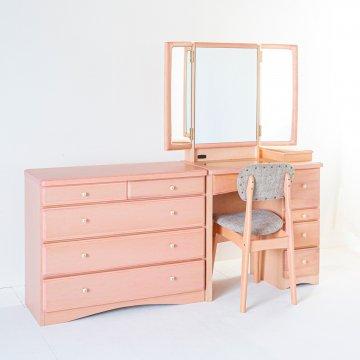 フェアリーテール + チェスト(4色)半三面鏡ドレッサー椅子付き ハンドル3種類【セット割】