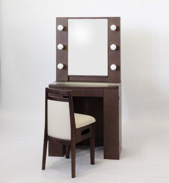 アイドル女優ミラー(ウェンジ)一面鏡LEDドレッサー椅子付き