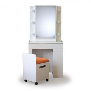 【セール】ディンプル女優ミラー(パールホワイト)一面鏡ハリウッドミラー LEDドレッサー椅子付き