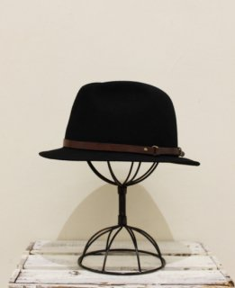 Portugal Rabbit Wool Leather Belt Hat(BLACK)