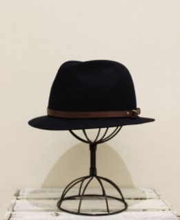 Portugal Rabbit Wool Leather Belt Hat(NAVY)