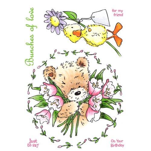 【輸入スタンプ】UMスタンプ*(PBFC01)お花大好きクマちゃん【ラバースタンプ】テディベア