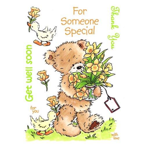【輸入スタンプ】UMスタンプ*(PBFC02)お花を届けよう*くま*ラバースタンプ*テディベア