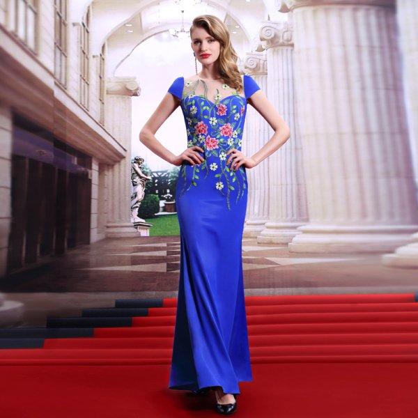 b425de11a697f 花柄 ブルー 高級ロングドレス - パーティードレス 演奏会ドレス 袖付き ...