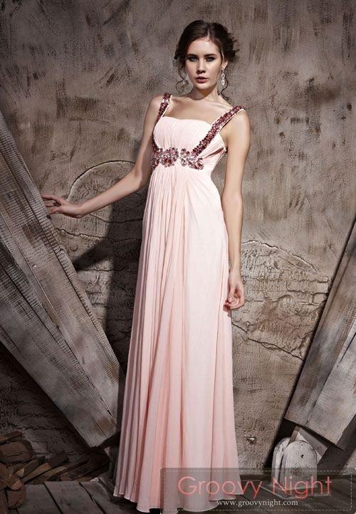 ゆったりデザインで長時間でもラクチン ピンク系ロングドレス♪