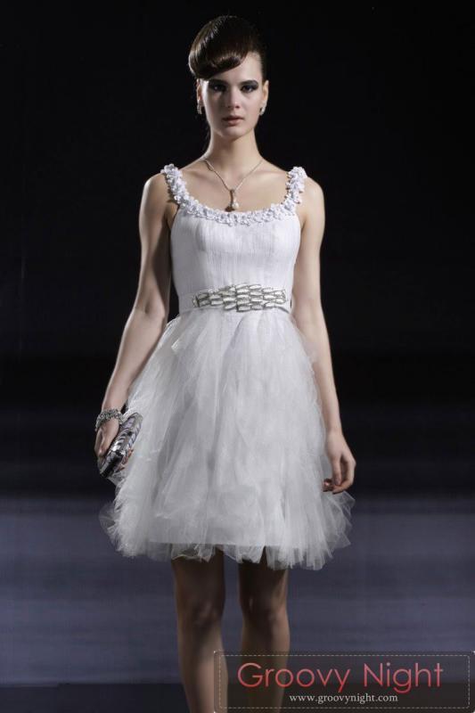 清純な装い ホワイトスワンショートドレス♪