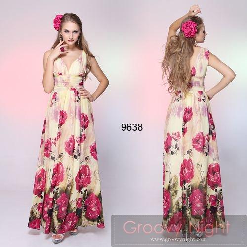 3カラー!!大胆にあしらった花柄でみんなの視線を独り占めできちゃうロングドレス♪