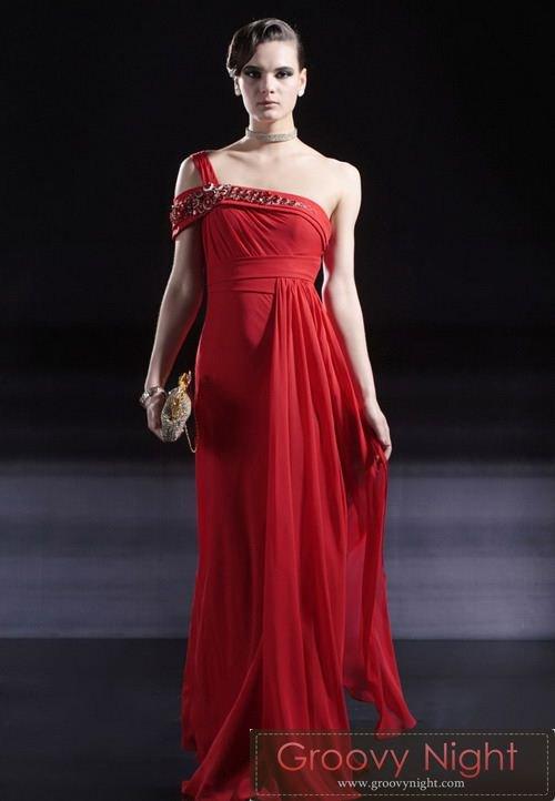 スペインレッドに斬新バックスタイルが情熱的なマタドールロングドレス♪