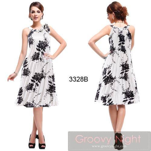 要在庫確認 3色から選べます 好みのフラワーデザインで楽しめるミディアムドレス♪