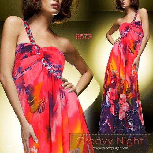 2色のカラーから選べます!!鮮やかデザインにラインストーンが輝くロングドレス♪