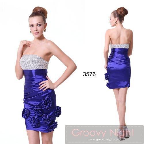 トップのキラキラとクリスタルブルーのフラワーショートドレス♪