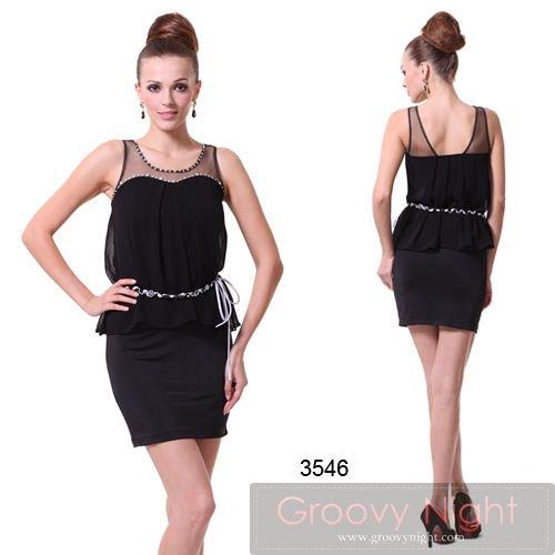 在庫わずかの人気ブラックラインストーンショートドレス♪