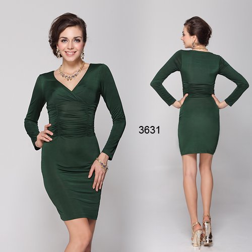 珍しいグリーンカラー 落ち着いた大人のショートドレス♪