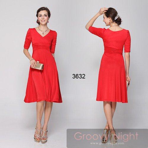 10色から選べます!袖つきミディアム丈!!着こなしやすくカワイイあどけなさも魅力なドレス♪