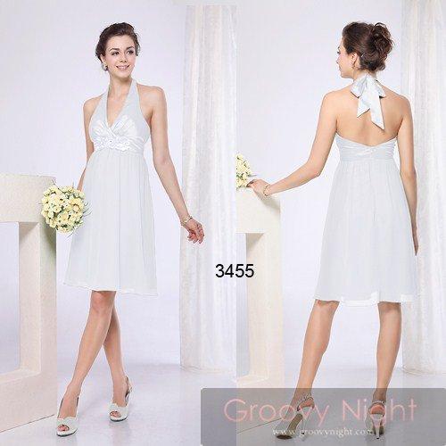 可愛いホルタータイプ!!3色の淡い色合いから選べるミディアムドレス♪