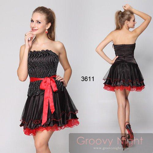 可愛さ最強!!無敵のブラック&レッドリボンショートドレス♪