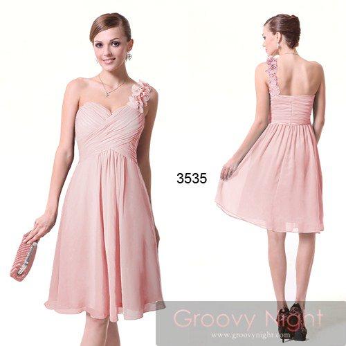 3色のカラーバリエーション!!ワンショルダーのフラワーミディアムドレス♪
