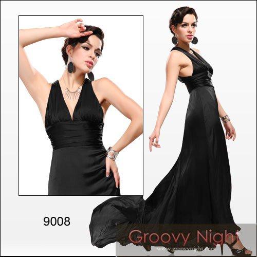 4色から選べます☆軽やかエレガントなVネックロングドレス♪