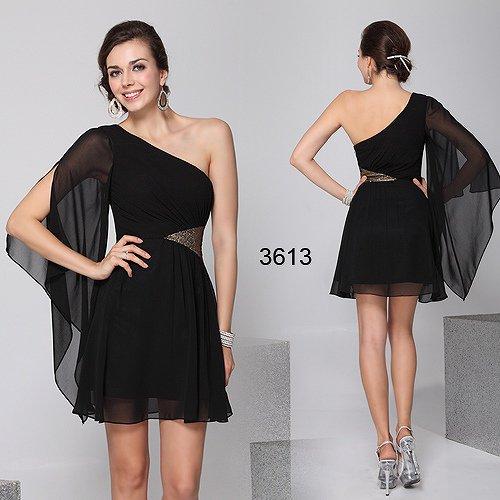 新鋭デザイン!! ワンショルダーのブラックドレス♪