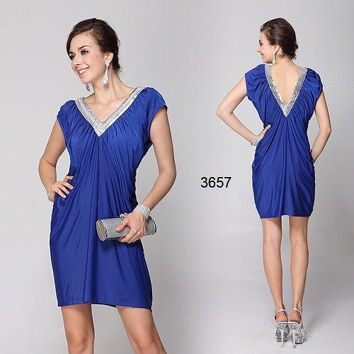 NEWデザイン! ハイストレッチのVネックのブルーショートドレス♪