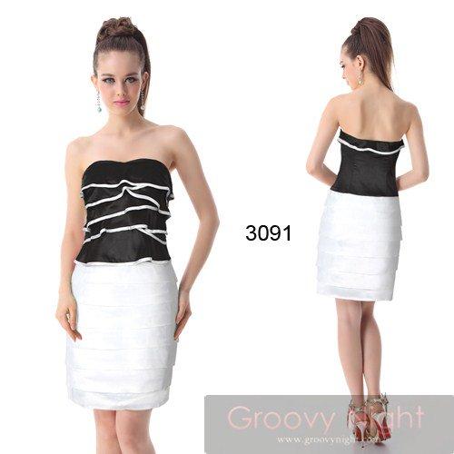黒と白のコントラスト! 美脚ショートドレス♪