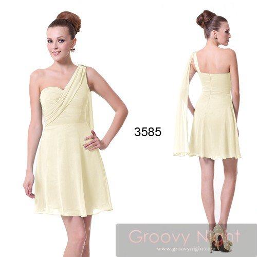 3色から選べます! SSサイズあり! シフォンワンショルダーショートドレス♪