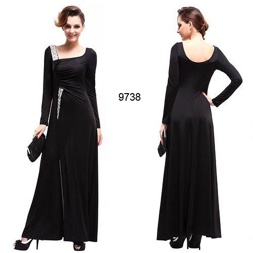袖つき☆ スリットセクシーなブラックロングドレス♪