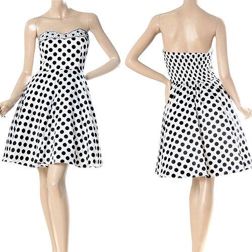 ブラック&ホワイトのカワイイ水玉ショートドレス♪