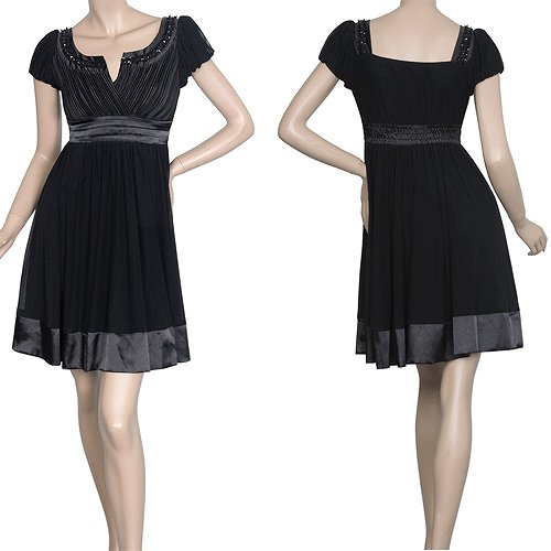 人気につき要在庫確認! お出かけにどうぞ!! おしとやかな袖つきのショートドレス♪