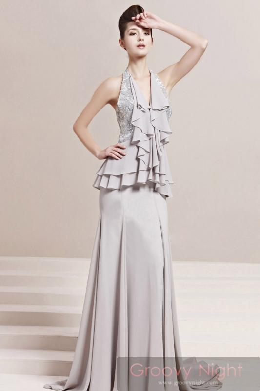 上品カラー!! 落ち着いた雰囲気の高級ロングドレス♪