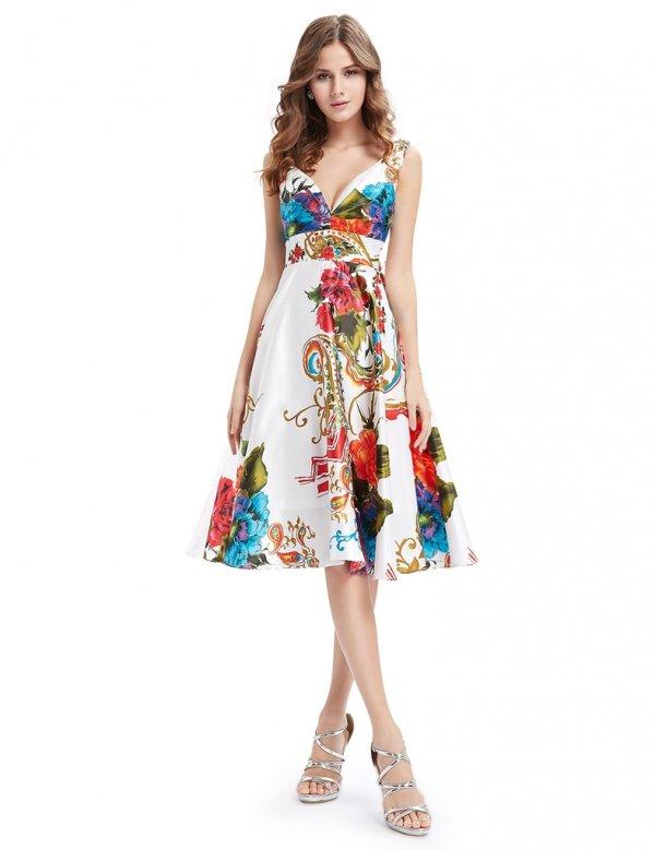 大人気商品につき要在庫確認!!乙女心くすぐる 鮮やかなVネックの花柄ミディアムドレス♪