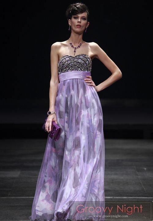 【送料無料、即日発送】高級感あるベルベットパープルに幻想的なデッサンが素敵なロングドレス♪