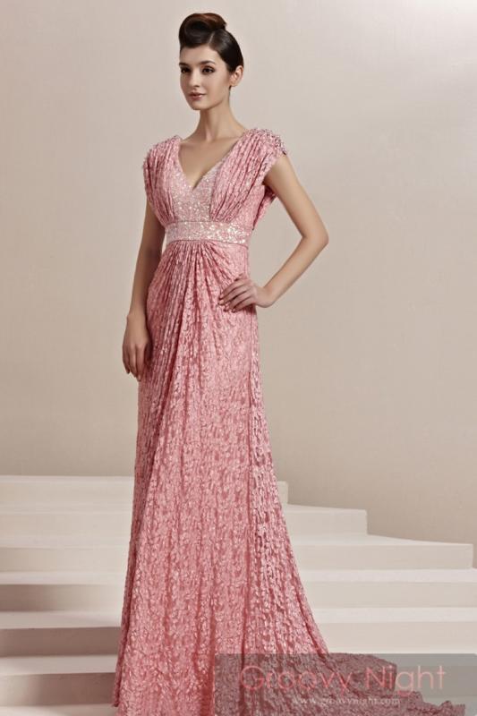 ピンクの美しい姫の光臨!! マーメードライン高級ロングドレス♪